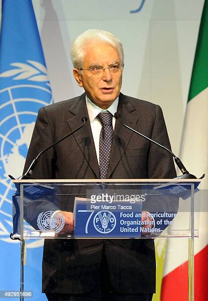 Italian President Sergio Mattarella makes a speech during the World Food Day Expo 2015 on October 16 2015 in Milan Italy The focus of the discussion...