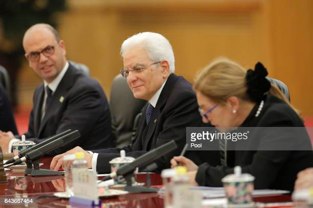 Italian President Sergio Mattarella speaks during the meeting with Chinese President Xi Jinping at the Great Hall of the People in Beijing China 22...