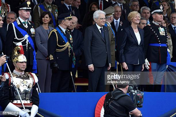 Italian President Sergio Matterella and Italian Defence Minister Roberta Pinotti attend the military parade during the celebrations of the Italian...