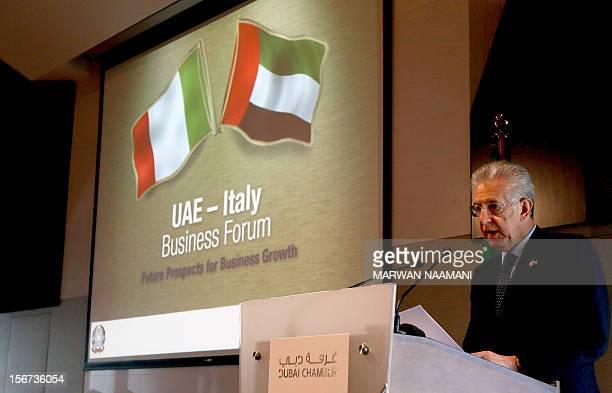 Italian Prime Mario Monti gives a speach at the Dubai Chamber of Commerce and Industry during a UAEItaly Business Forum on November 20 2012 Monti...