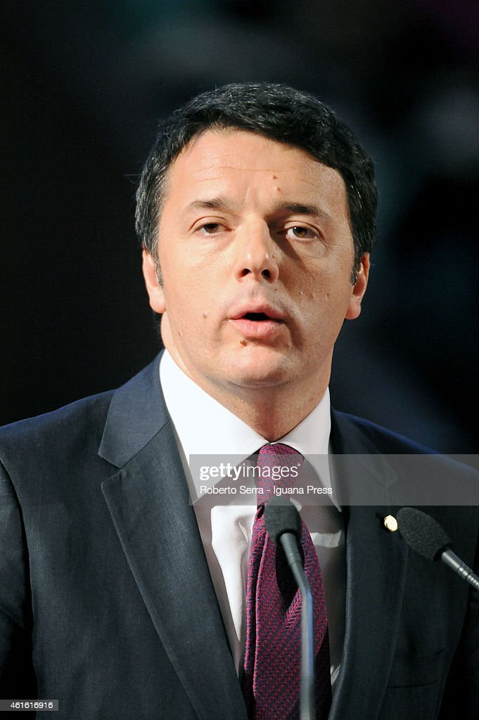 Italian Prime Miinister <a gi-track='captionPersonalityLinkClicked' href=/galleries/search?phrase=Matteo+Renzi&family=editorial&specificpeople=6689301 ng-click='$event.stopPropagation()'>Matteo Renzi</a> hold his speech during the inauguration of the academic year ceremony at the Aula Magna Santa Lucia on January 10, 2015 in Bologna, Italy.