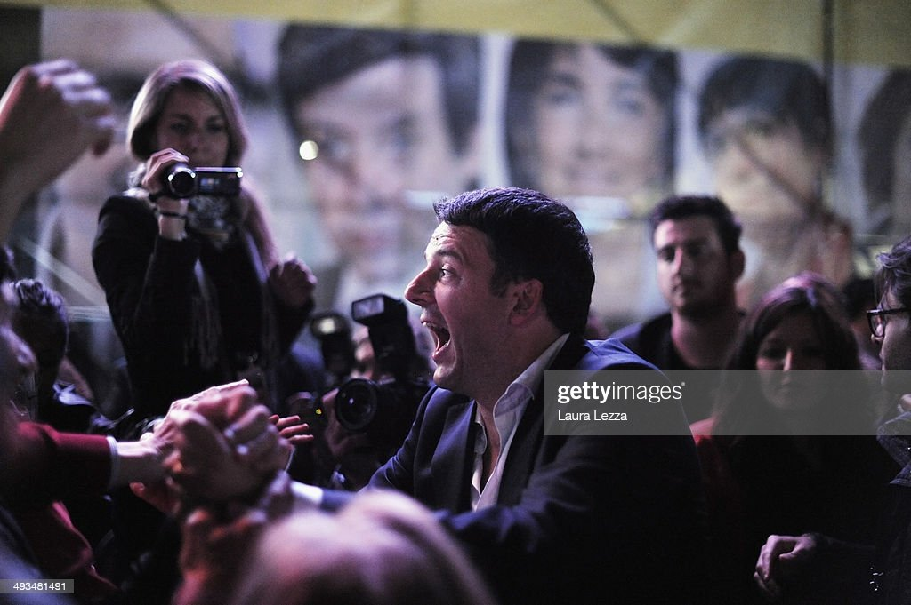 Italian Prime Minister and Democratic Party leader <a gi-track='captionPersonalityLinkClicked' href=/galleries/search?phrase=Matteo+Renzi&family=editorial&specificpeople=6689301 ng-click='$event.stopPropagation()'>Matteo Renzi</a>, greets people after speaking at Piazza della Signoria during his last political rally before the European election on May 23, 2014 in Florence, Italy. The leaders of two of Italy's major parties, the Democratic Party (PD) of Prime Minister <a gi-track='captionPersonalityLinkClicked' href=/galleries/search?phrase=Matteo+Renzi&family=editorial&specificpeople=6689301 ng-click='$event.stopPropagation()'>Matteo Renzi</a> and the leader of the Movimento 5 Stelle (Five Stars Movement or M5S) comedian Beppe Grillo have fought a bitter campaign ahead of Italy's European elections on Sunday. The vote is an important test for Renzi and his Government, the first national election he has faced since coming to power in February.