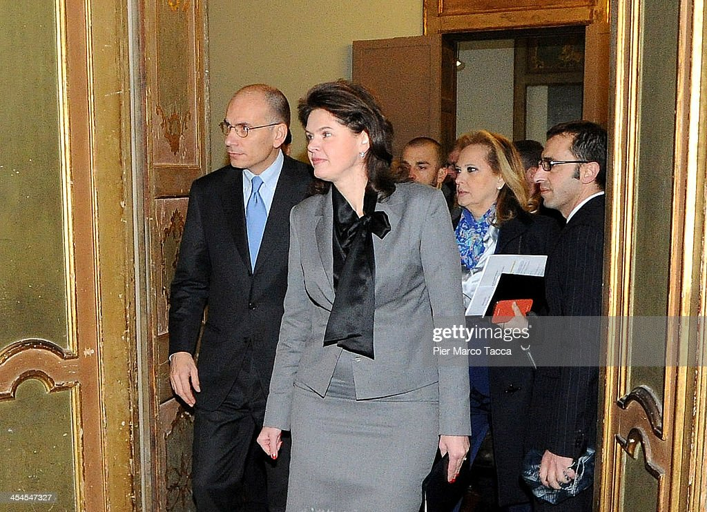 Italian Prime Minister <a gi-track='captionPersonalityLinkClicked' href=/galleries/search?phrase=Enrico+Letta&family=editorial&specificpeople=2915592 ng-click='$event.stopPropagation()'>Enrico Letta</a> and Prime Minister of the Republic of Slovenia Alenka Bratusek attends 'New Narrative for Europe' assembly at Palazzo Clerici on December 9, 2013 in Milan, Italy.The second general Assembly discusses forms of immagination and thinking for Europe.