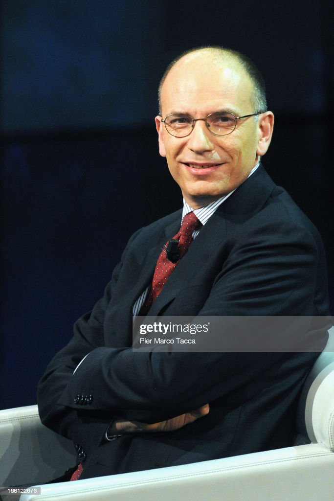 Italian Prime Minister <a gi-track='captionPersonalityLinkClicked' href=/galleries/search?phrase=Enrico+Letta&family=editorial&specificpeople=2915592 ng-click='$event.stopPropagation()'>Enrico Letta</a> attends 'Che Tempo Che Fa' TV show on May 5, 2013 in Milan, Italy.