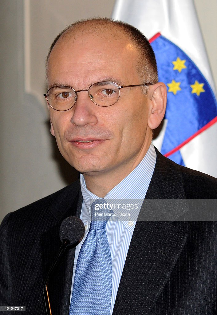 Italian Prime Minister Enrico Letta during his speech at the 'New Narrative for Europe' assembly at Palazzo Clerici on December 9, 2013 in Milan, Italy.The second general Assembly discusses forms of immagination and thinking for Europe.