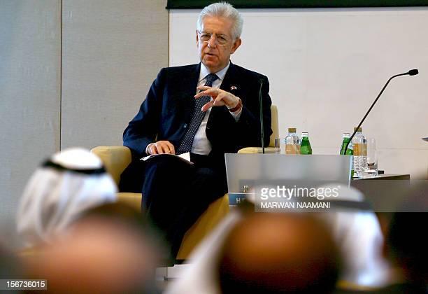 Italian Prime Minister Mario Monti addresses United Arab Emirates and Italian businessmen during a UAEItaly Business Forum at the Dubai Chamber of...