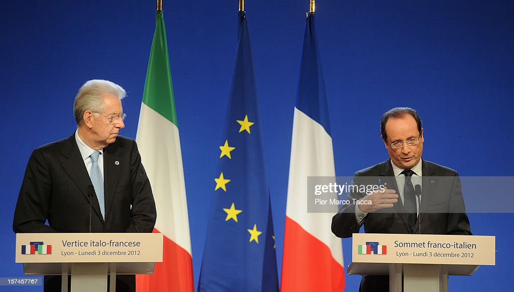 Italian Prime Minister <a gi-track='captionPersonalityLinkClicked' href=/galleries/search?phrase=Mario+Monti&family=editorial&specificpeople=632091 ng-click='$event.stopPropagation()'>Mario Monti</a> (L) and French President Francois Hollande hold a press conference at the French Italian Summit on December 3, 2012 in Lyon, France. The two countries are meeting to sign an official accord for the construction of new high speed (TAV) rail line running from Lyon to Torino.