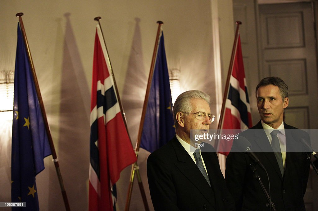 Italian prime minister <a gi-track='captionPersonalityLinkClicked' href=/galleries/search?phrase=Mario+Monti&family=editorial&specificpeople=632091 ng-click='$event.stopPropagation()'>Mario Monti</a> (L) and Norwegian Prime Minister <a gi-track='captionPersonalityLinkClicked' href=/galleries/search?phrase=Jens+Stoltenberg&family=editorial&specificpeople=558620 ng-click='$event.stopPropagation()'>Jens Stoltenberg</a> address the press after a working luncheon at the Gamle Logen hosted by Norway's Prime Minister for the EU leaders while they attend the Nobel Peace Prize Award Ceremony at Oslo City Hall on December 10, 2012 in Oslo, Norway. The European Union is collecting this year's prestigious Nobel Peace Prize for uniting the continent after two World Wars especially while during economic crisis.