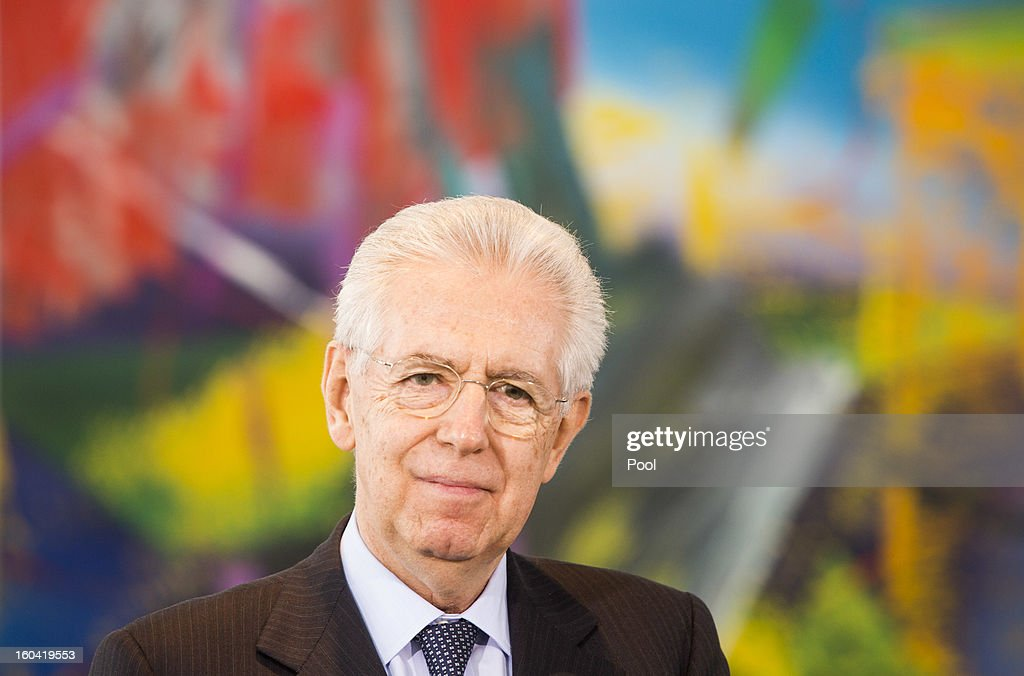 Italian Prime Minister Mario Monti attends a press conference with Angela Merkel (not pictured) before their meeting at the Chancellery on January 31, 2013 in Berlin, Germany. The German Chancellor is meeting with Italian Prime Minister Mario Monti and Spanish Prime Minister Mariano Rajoy in Berlin to hold EU budget talks in preparation for the EU Summit to be held in Brussels next week.