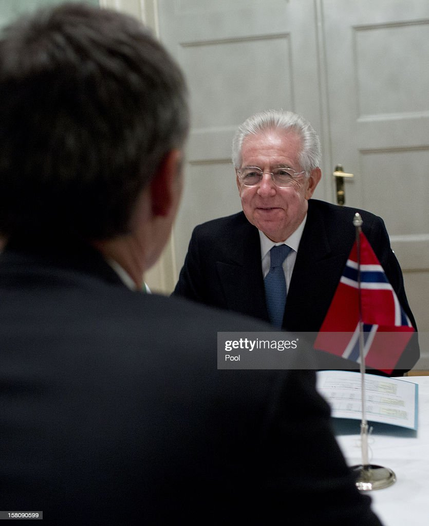 Italian Prime Minister <a gi-track='captionPersonalityLinkClicked' href=/galleries/search?phrase=Mario+Monti&family=editorial&specificpeople=632091 ng-click='$event.stopPropagation()'>Mario Monti</a> attends a working luncheon at the Gamle Logen hosted by Norway's Prime Minister for the EU leaders while they attend the Nobel Peace Prize Award Ceremony at Oslo City Hall on December 10, 2012 in Oslo, Norway. The European Union is collecting this year's prestigious Nobel Peace Prize for uniting the continent after two World Wars especially while during economic crisis.