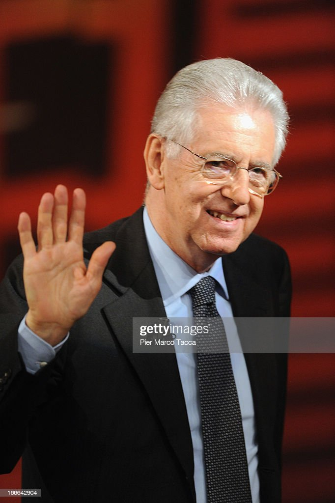 Italian Prime Minister <a gi-track='captionPersonalityLinkClicked' href=/galleries/search?phrase=Mario+Monti&family=editorial&specificpeople=632091 ng-click='$event.stopPropagation()'>Mario Monti</a> attends 'Che Tempo Che Fa' Italian TV Show on April 14, 2013 in Milan, Italy.