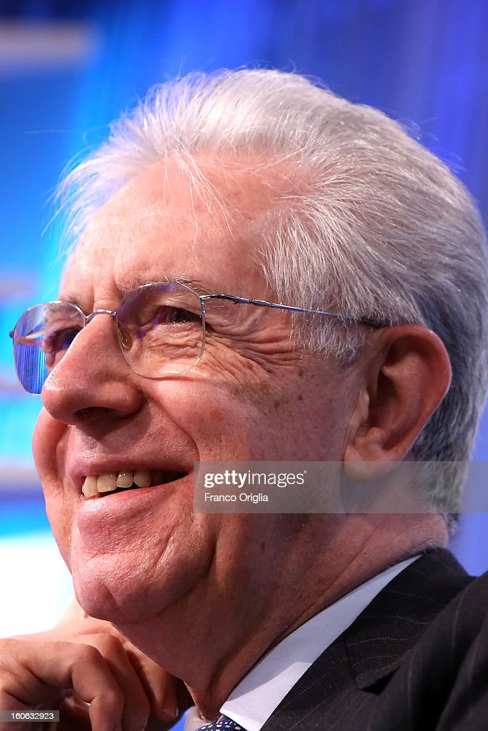 Italian Prime Minister <a gi-track='captionPersonalityLinkClicked' href=/galleries/search?phrase=Mario+Monti&family=editorial&specificpeople=632091 ng-click='$event.stopPropagation()'>Mario Monti</a> attends 'Coffee Break' TV show at La7 studios on February 4, 2013 in Rome, Italy. Outgoing Italian prime minister <a gi-track='captionPersonalityLinkClicked' href=/galleries/search?phrase=Mario+Monti&family=editorial&specificpeople=632091 ng-click='$event.stopPropagation()'>Mario Monti</a> will lead a centrist alliance during the Italian elections scheduled for February 24.