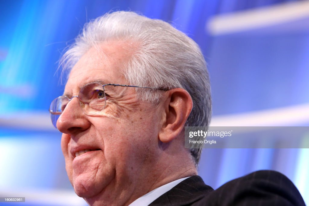 Italian Prime Minister Mario Monti attends 'Coffee Break' TV show at La7 studios on February 4, 2013 in Rome, Italy. Outgoing Italian prime minister Mario Monti will lead a centrist alliance during the Italian elections scheduled for February 24.