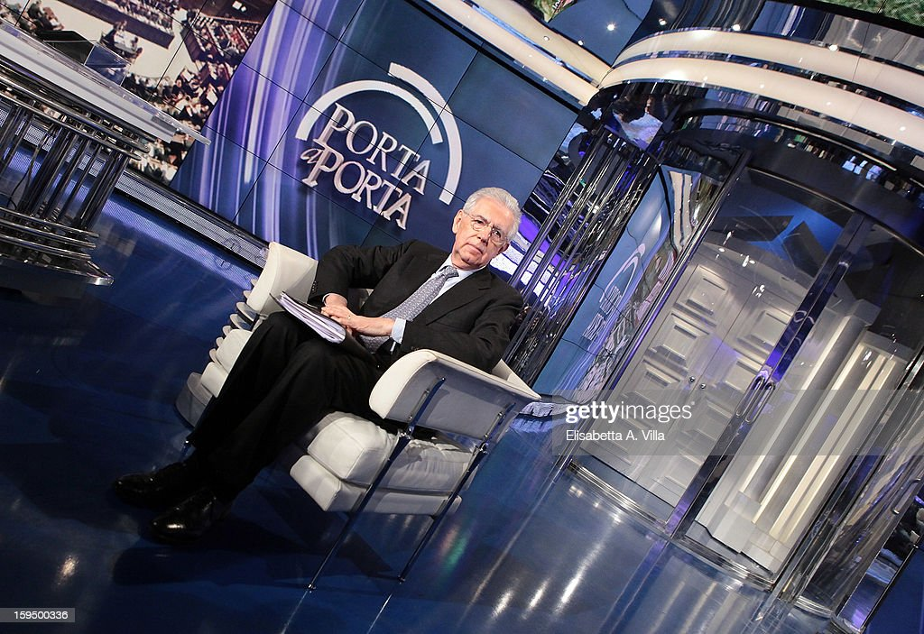 Italian Prime Minister Mario Monti attends 'Porta A Porta' Italian TV Show on January 14, 2013 in Rome, Italy.