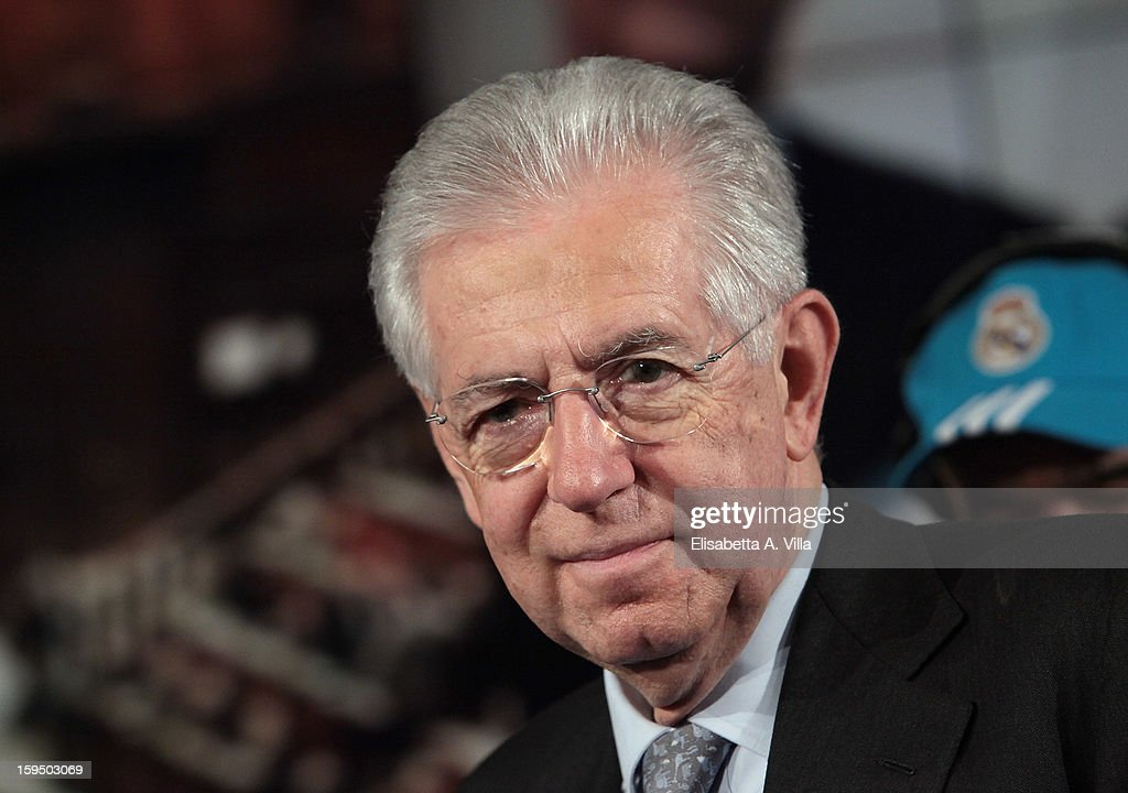 Italian Prime Minister <a gi-track='captionPersonalityLinkClicked' href=/galleries/search?phrase=Mario+Monti&family=editorial&specificpeople=632091 ng-click='$event.stopPropagation()'>Mario Monti</a> attends 'Porta A Porta' Italian TV Show on January 14, 2013 in Rome, Italy.