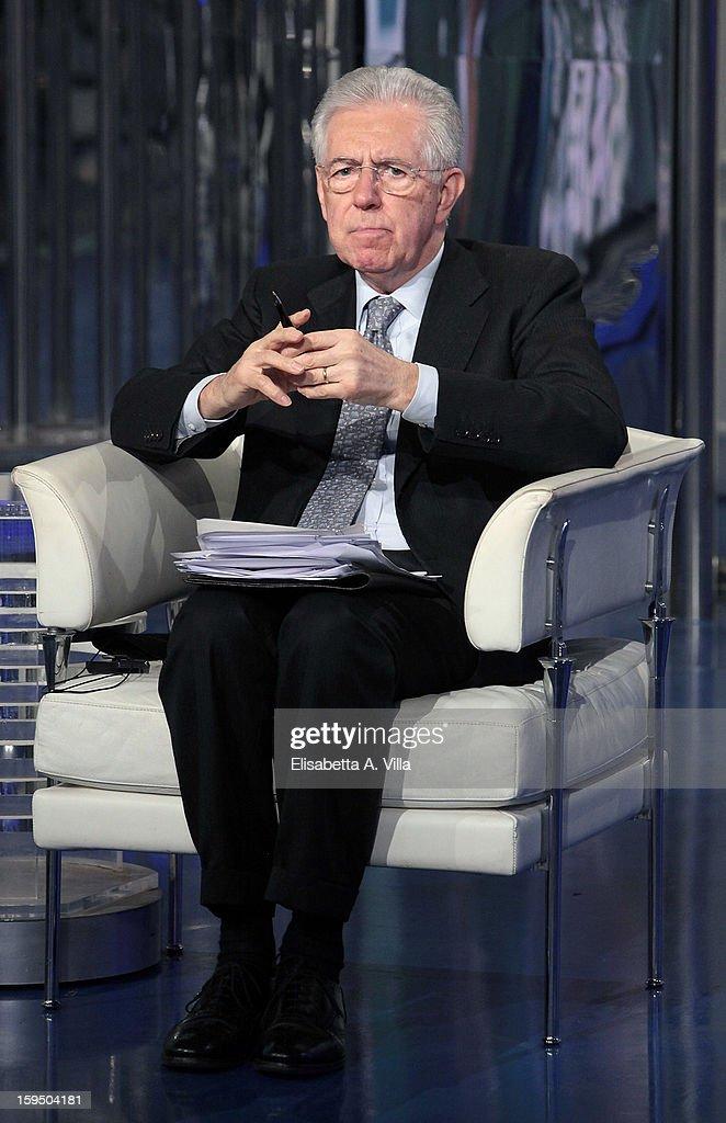 Mario Monti At 'Porta a Porta' Italian TV Show