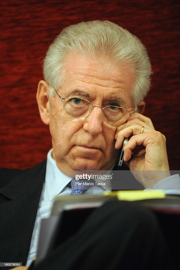 Italian Prime Minister <a gi-track='captionPersonalityLinkClicked' href=/galleries/search?phrase=Mario+Monti&family=editorial&specificpeople=632091 ng-click='$event.stopPropagation()'>Mario Monti</a> attends the presentation of Lombardy candidates of 'Scelta Civica con Monti per l'Italia' at on February 2, 2013 in Milan, Italy. Monti used the rally to unveil the list of Lombardy candidates for the 'Civic Choice' (Scelta Civica) movement that will be running in February's parliamentary elections.