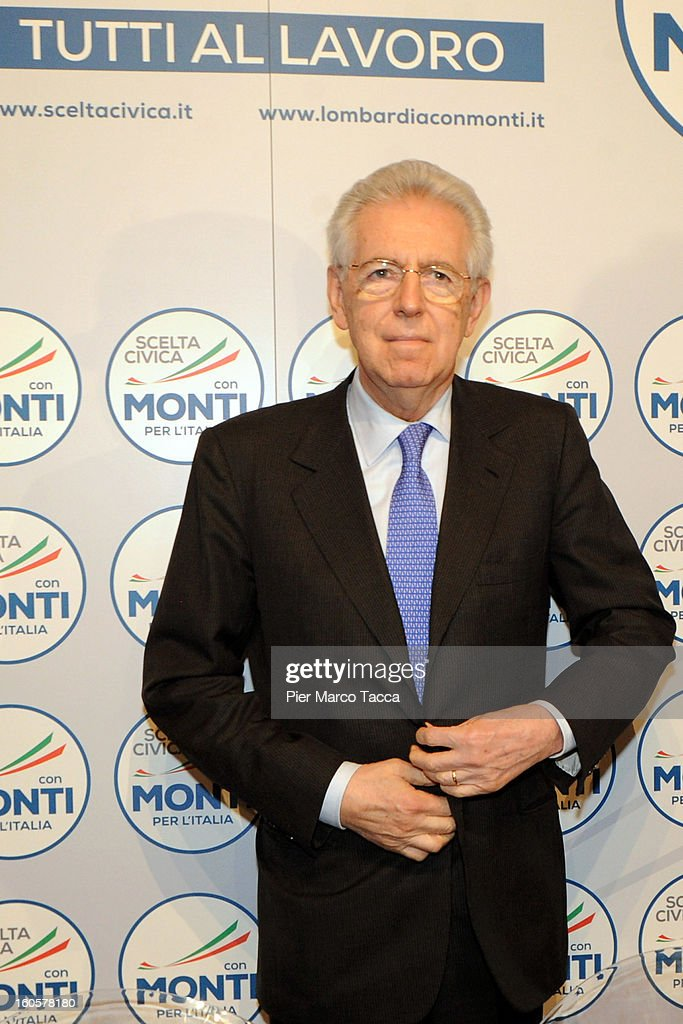 Italian Prime Minister <a gi-track='captionPersonalityLinkClicked' href=/galleries/search?phrase=Mario+Monti&family=editorial&specificpeople=632091 ng-click='$event.stopPropagation()'>Mario Monti</a> attends the presentation of Lombardy candidates of 'Scelta Civica con Monti per l'Italia' on February 2, 2013 in Milan,to Italy.Monti used the rally to unveil the list of Lombardy candidates for the 'Civic Choice' (Scelta Civica) movement that will be running in February's parliamentary elections.