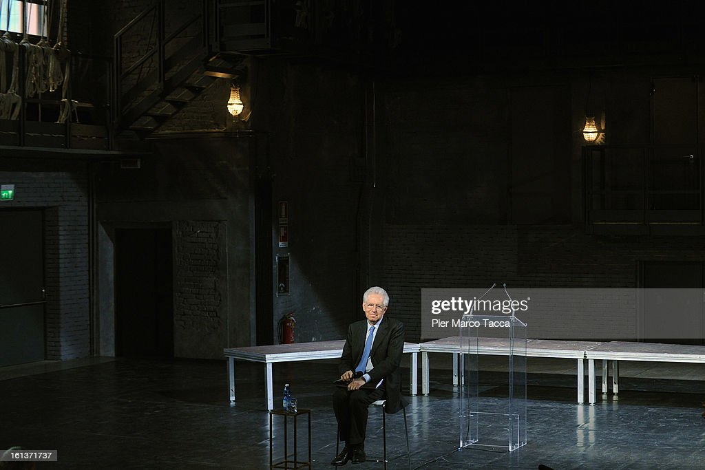 Italian Prime Minister <a gi-track='captionPersonalityLinkClicked' href=/galleries/search?phrase=Mario+Monti&family=editorial&specificpeople=632091 ng-click='$event.stopPropagation()'>Mario Monti</a> delivers a speech during a meeting with young people at ' Franco Parenti' theater on February 10, 2013 in Milan, Italy.Monti used the rally to unveil the list of candidates for the 'Civic Choice' (Scelta Civica) movement that will be running in February's parliamentary elections.