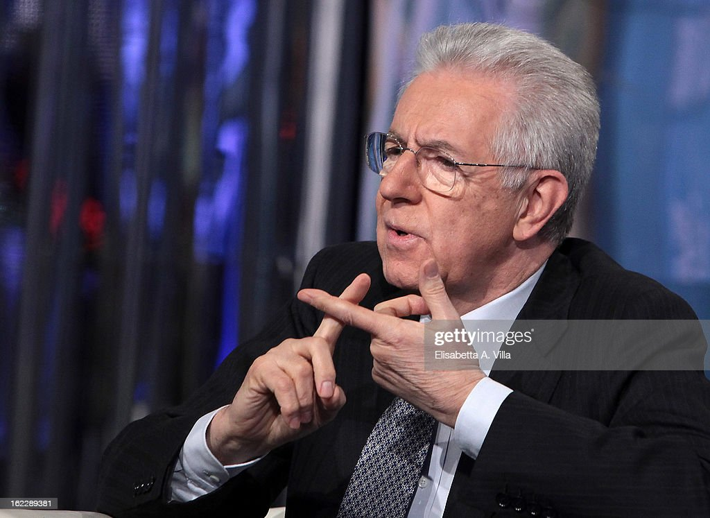 Italian Prime Minister <a gi-track='captionPersonalityLinkClicked' href=/galleries/search?phrase=Mario+Monti&family=editorial&specificpeople=632091 ng-click='$event.stopPropagation()'>Mario Monti</a> during filming for the 'A Porta A Porta' TV Show on February 21, 2013 in Rome, Italy. <a gi-track='captionPersonalityLinkClicked' href=/galleries/search?phrase=Mario+Monti&family=editorial&specificpeople=632091 ng-click='$event.stopPropagation()'>Mario Monti</a>, leader of a centrist alliance, is continuing his campaign for the upcoming general elections that take place on February 24th and 25th.