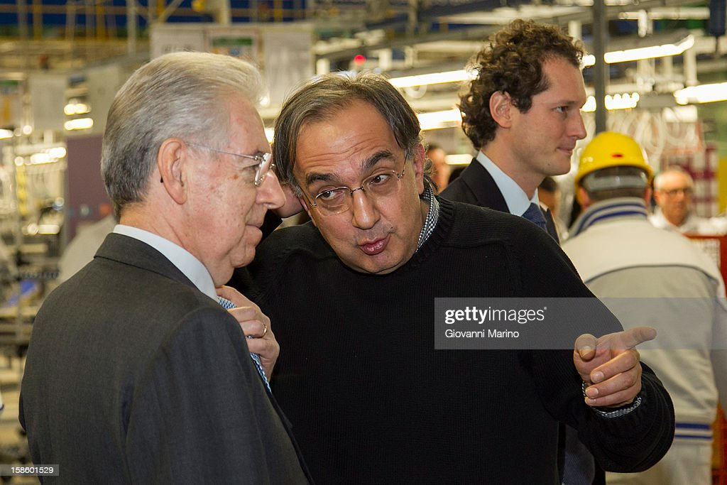 Italian Prime Minister Mario Monti, Fiat CEO Sergio Marchionne and Fiat Chairman John Elkann visit the assembly line during a visit to the Fiat plant on December 20, 2012 in Melfi, Italy. The visit comes as the car maker's chief executive, Sergio Marchionne, announced plans to build new sport utility vehicles (SUV) at its Melfi plant by year-end.