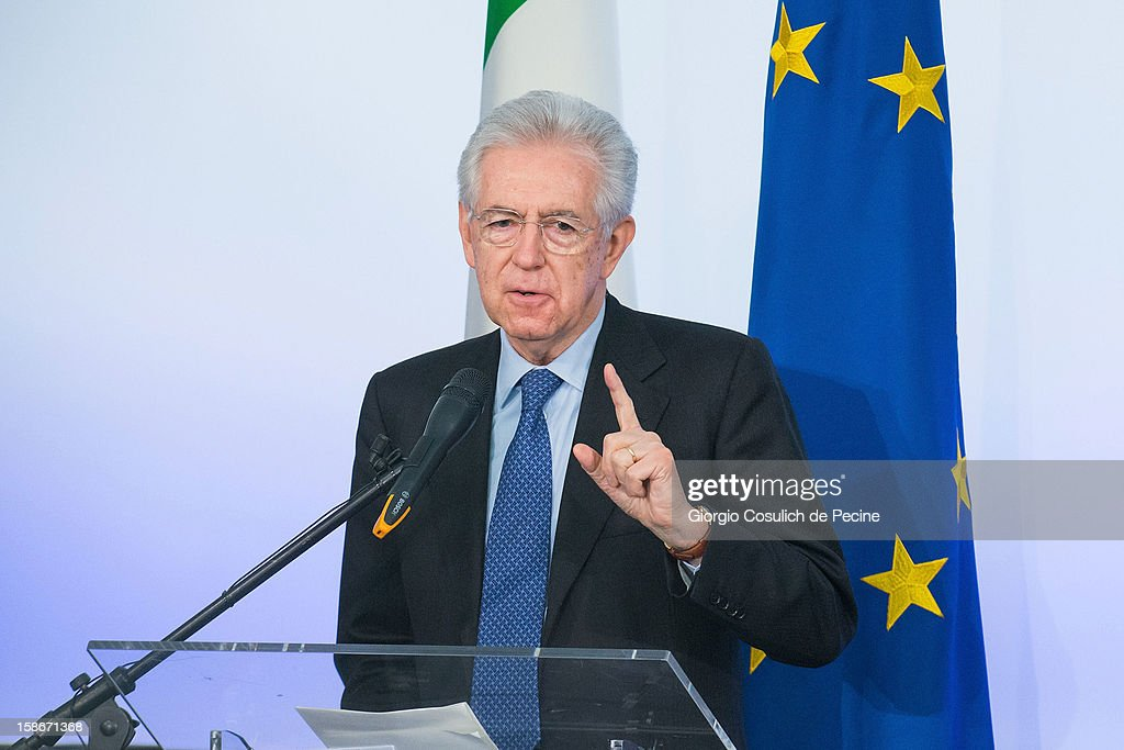 Italian Prime Minister <a gi-track='captionPersonalityLinkClicked' href=/galleries/search?phrase=Mario+Monti&family=editorial&specificpeople=632091 ng-click='$event.stopPropagation()'>Mario Monti</a> gestures during his end of the year speech on December 23, 2012 in Rome, Italy. During the press conference Premier <a gi-track='captionPersonalityLinkClicked' href=/galleries/search?phrase=Mario+Monti&family=editorial&specificpeople=632091 ng-click='$event.stopPropagation()'>Mario Monti</a> said that he would not run for another term in the February general election, but remains available to head a future government.