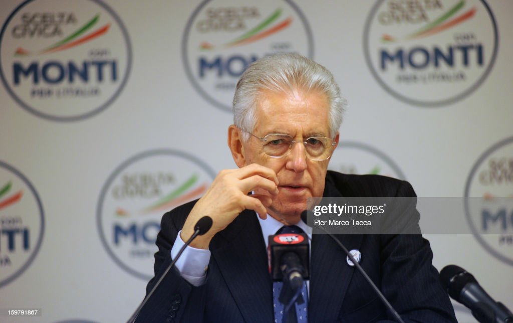 Italian Prime Minister <a gi-track='captionPersonalityLinkClicked' href=/galleries/search?phrase=Mario+Monti&family=editorial&specificpeople=632091 ng-click='$event.stopPropagation()'>Mario Monti</a> <a gi-track='captionPersonalityLinkClicked' href=/galleries/search?phrase=Mario+Monti&family=editorial&specificpeople=632091 ng-click='$event.stopPropagation()'>Mario Monti</a> speaks during the press conference after the convention for his centrist alliance 'With Monti For Italy' (Con Monti Per L'Italia) at Kilometro Rosso on January 20, 2013 in Bergamo, Italy. Monti used the rally to unveil the list of candidates for the 'Civic Choice' (Scelta Civica) movement, a bloc that will form part of the centrist alliance running in February's parliamentary elections.