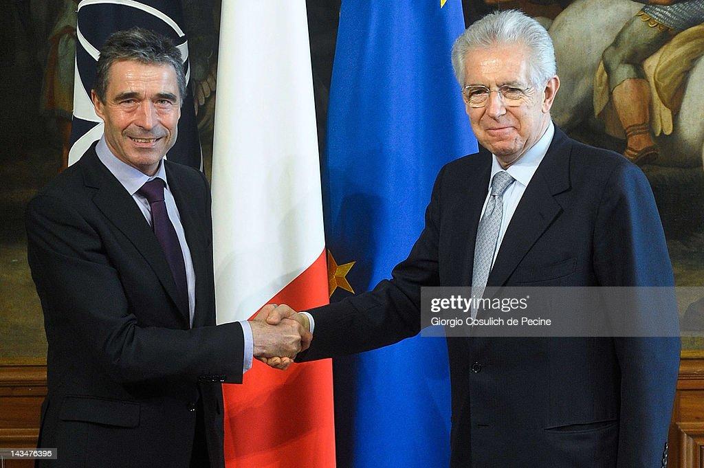 Mario Monti Meets NATO Secretary General Anders Fogh Rasmussen