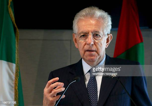 Italian Prime Minister Mario Monti speaks at the UAEItaly Business Forum at the Dubai Chamber of Commerce and Industry on November 20 2012 Monti...