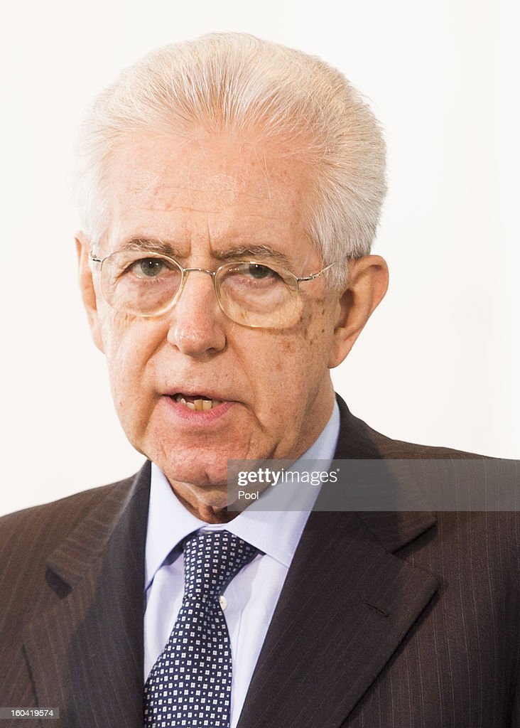 Italian Prime Minister Mario Monti speaks during a press conference with Angela Merkel (not pictured) before their meeting at the Chancellery on January 31, 2013 in Berlin, Germany. The German Chancellor is meeting with Italian Prime Minister Mario Monti and Spanish Prime Minister Mariano Rajoy in Berlin to hold EU budget talks in preparation for the EU Summit to be held in Brussels next week.