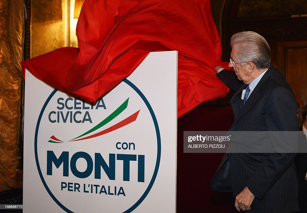 Italian Prime Minister Mario Monti, unveils the logo of his new party during a news conference held in Rome on January 4, 2013. A coalition of centrist parties led by Italy's outgoing Prime Minister Mario Monti is currently running in fourth place ahead of early elections in February, according to a poll published on Friday.