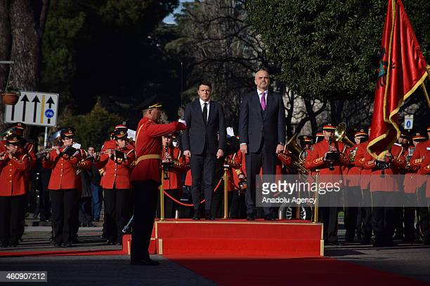 Italian Prime Minister Matteo Renzi and Albanian Prime Minister Edi Rama during welcoming ceremony in Tirana Albania on December 30 2014