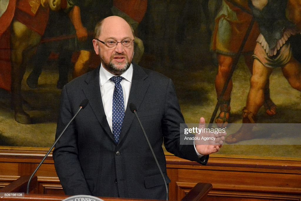 Italian Prime Minister Matteo Renzi (not seen) and European Parliament President Martin Schulz hold a joint press conference after their meeting at Chigi palace in Rome, Italy on February 12, 2016.