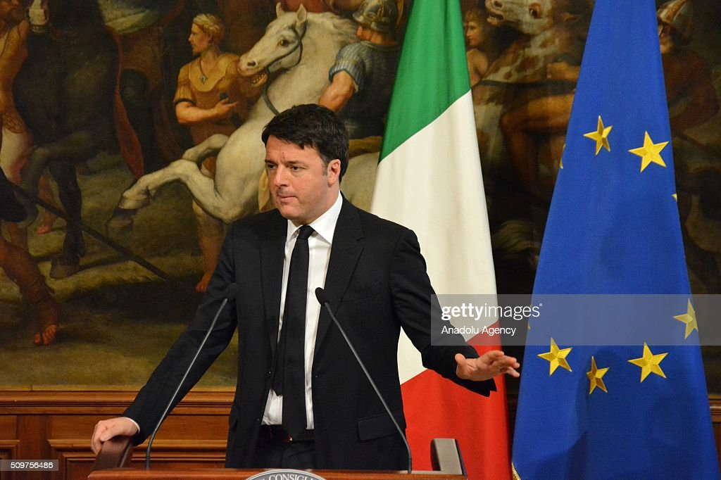 Italian Prime Minister Matteo Renzi and European Parliament President Martin Schulz (not seen) hold a joint press conference after their meeting at Chigi palace in Rome, Italy on February 12, 2016.