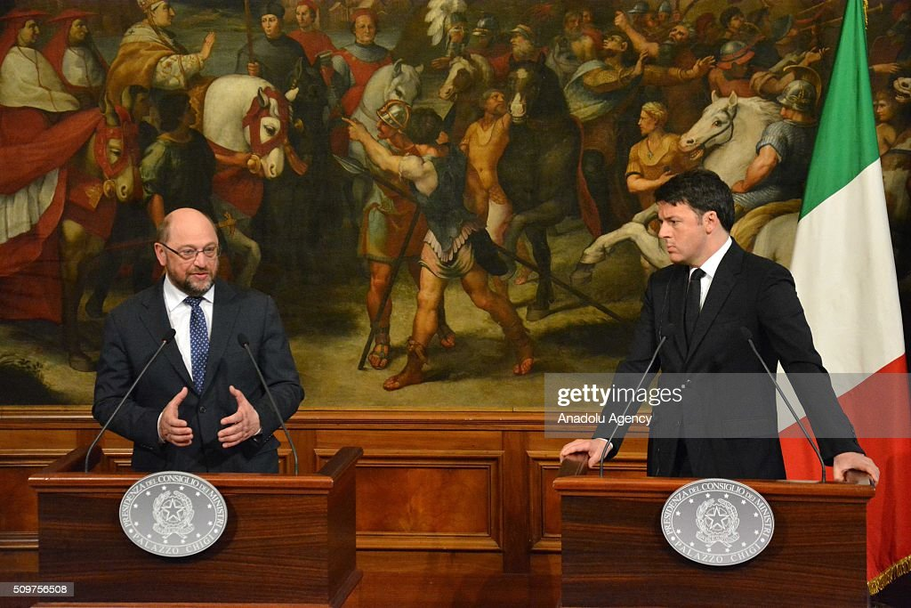 Italian Prime Minister Matteo Renzi (R) and European Parliament President Martin Schulz (L) hold a joint press conference after their meeting at Chigi palace in Rome, Italy on February 12, 2016.