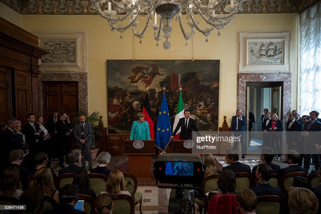 Italian Prime Minister Matteo Renzi and German Chancellor Angela Merkel during a press conference after their meeting in Rome's Palazzo Chigi on May 5, 2016.