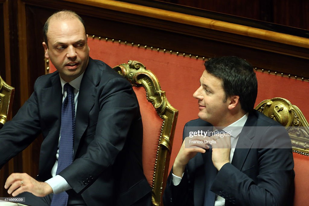 Italian Prime Minister Matteo Renzi and Interior Minister Angelino Alfano attend a debate ahead of a confidence vote for his coalition government at...