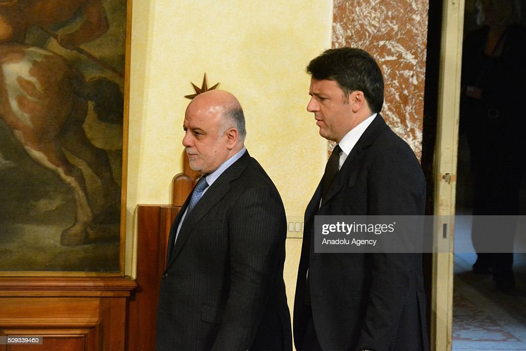 Italian Prime Minister Matteo Renzi (R) and Iraqi Prime Minister Haider al-Abadi (L) hold a joint press conference at Chigi palace in Rome, Italy on February 10, 2016.