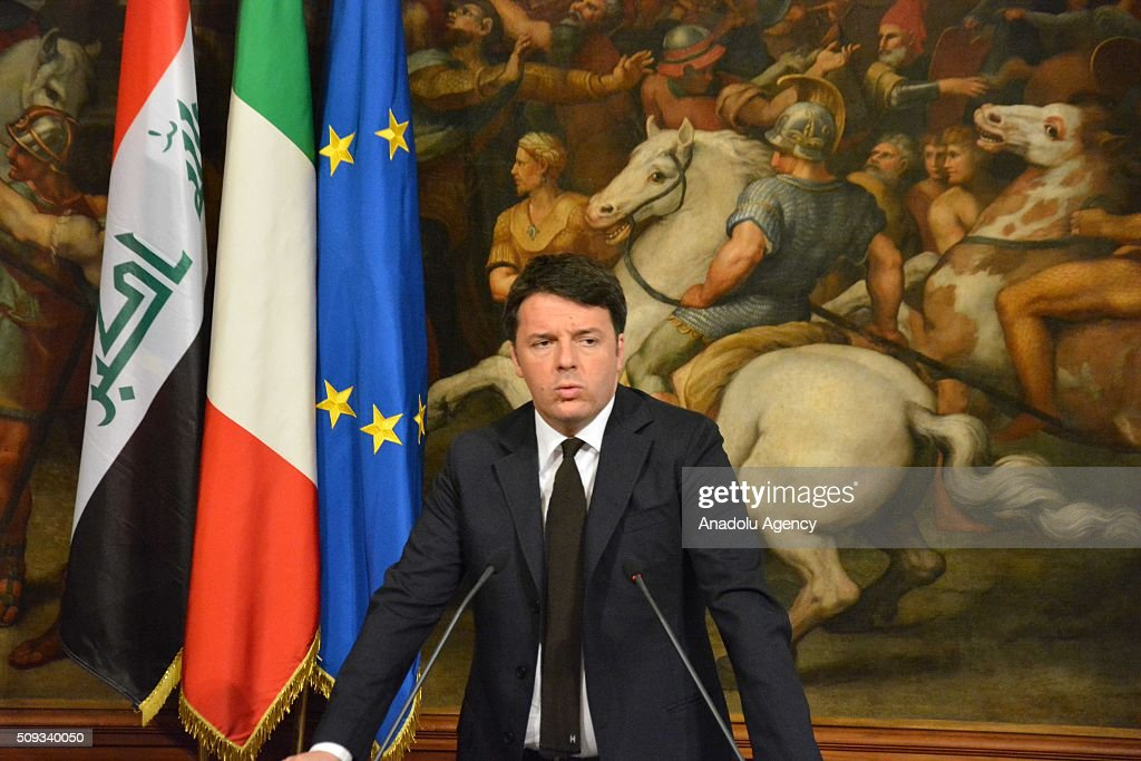 Italian Prime Minister Matteo Renzi and Iraqi Prime Minister Haider al-Abadi (not seen) hold a joint press conference at Chigi palace in Rome, Italy on February 10, 2016.