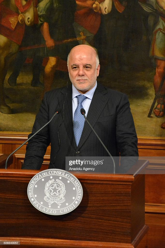 Italian Prime Minister Matteo Renzi (not seen) and Iraqi Prime Minister Haider al-Abadi hold a joint press conference at Chigi palace in Rome, Italy on February 10, 2016.