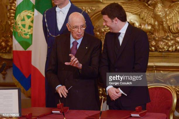 Italian Prime Minister Matteo Renzi and Italy's Presidenton Giorgio Napolitano attend the swearing in ceremony of the new government at Quirinale...