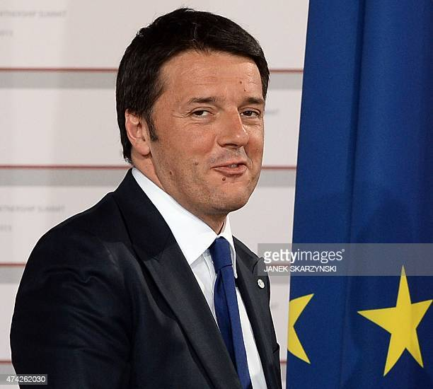 Italian Prime Minister Matteo Renzi arrives at the House of the Blackhead for an informal dinner at the start of the fourth European Union eastern...