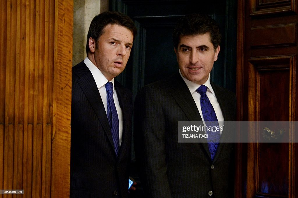 Italian Prime Minister <a gi-track='captionPersonalityLinkClicked' href=/galleries/search?phrase=Matteo+Renzi&family=editorial&specificpeople=6689301 ng-click='$event.stopPropagation()'>Matteo Renzi</a> (L) arrives with prime minister of Iraq's Kurdistan regional government <a gi-track='captionPersonalityLinkClicked' href=/galleries/search?phrase=Nechirvan+Barzani&family=editorial&specificpeople=582951 ng-click='$event.stopPropagation()'>Nechirvan Barzani</a> before their meeting on March 2, 2015 at the Chigi Palace in Rome.