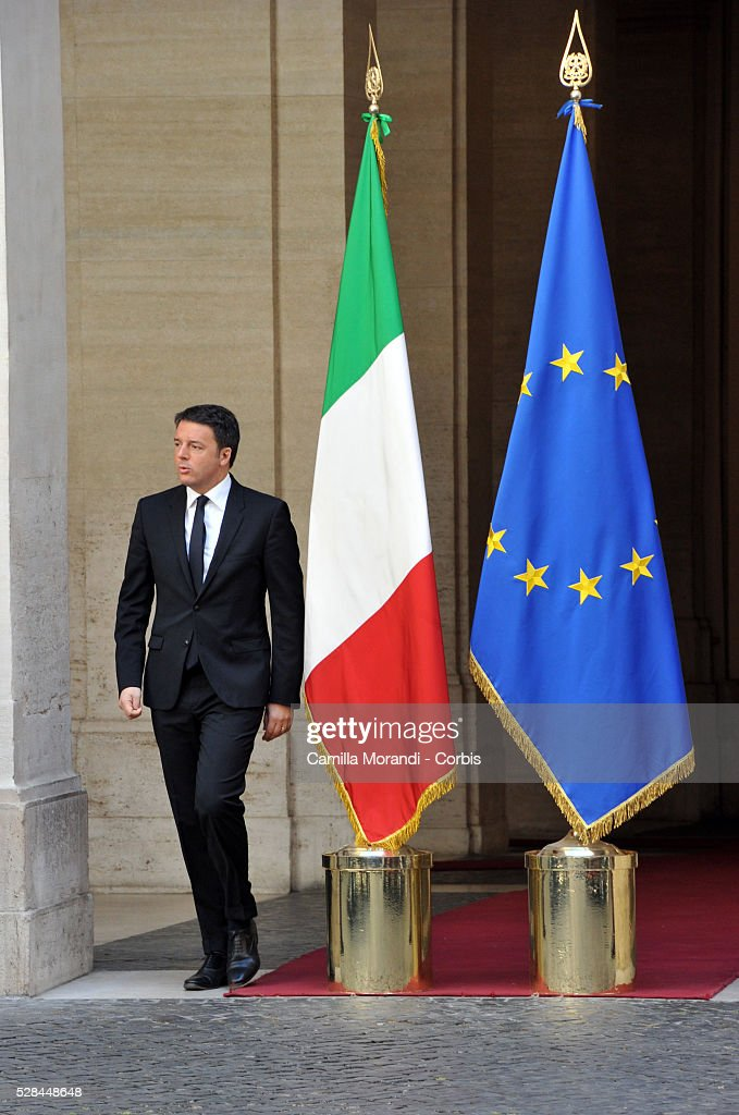 Italian Prime Minister <a gi-track='captionPersonalityLinkClicked' href=/galleries/search?phrase=Matteo+Renzi&family=editorial&specificpeople=6689301 ng-click='$event.stopPropagation()'>Matteo Renzi</a> attend the unveiling of Italian car manufacturer Alfa Romeo's latest car The Alfa Romeo Giulia on May 5, 2016 in Rome, Italy.