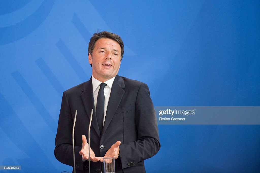 Italian Prime Minister <a gi-track='captionPersonalityLinkClicked' href=/galleries/search?phrase=Matteo+Renzi&family=editorial&specificpeople=6689301 ng-click='$event.stopPropagation()'>Matteo Renzi</a> attends a press conference on June 27, 2016 in Berlin, Germany. Merkel hosted talks with Hollande and Renzi to discuss the UK's decision to leave the European Union.
