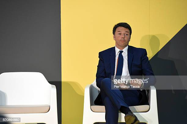 Italian Prime Minister Matteo Renzi attends the awards ceremony of the international competition of the Salone Satellite in 2016 during 55th Salone...