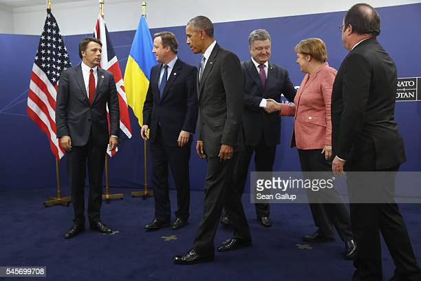 Italian Prime Minister Matteo Renzi British Prime Minister David Cameron US President Barack Obama Ukrainian President Petro Poroshenko German...