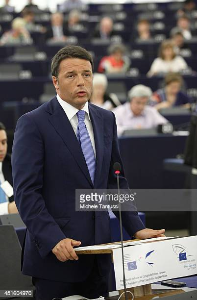 Italian Prime Minister Matteo Renzi delivers a speech to the plenary room in the European Parliament ahead of the beginning of the sixmonth Italian...