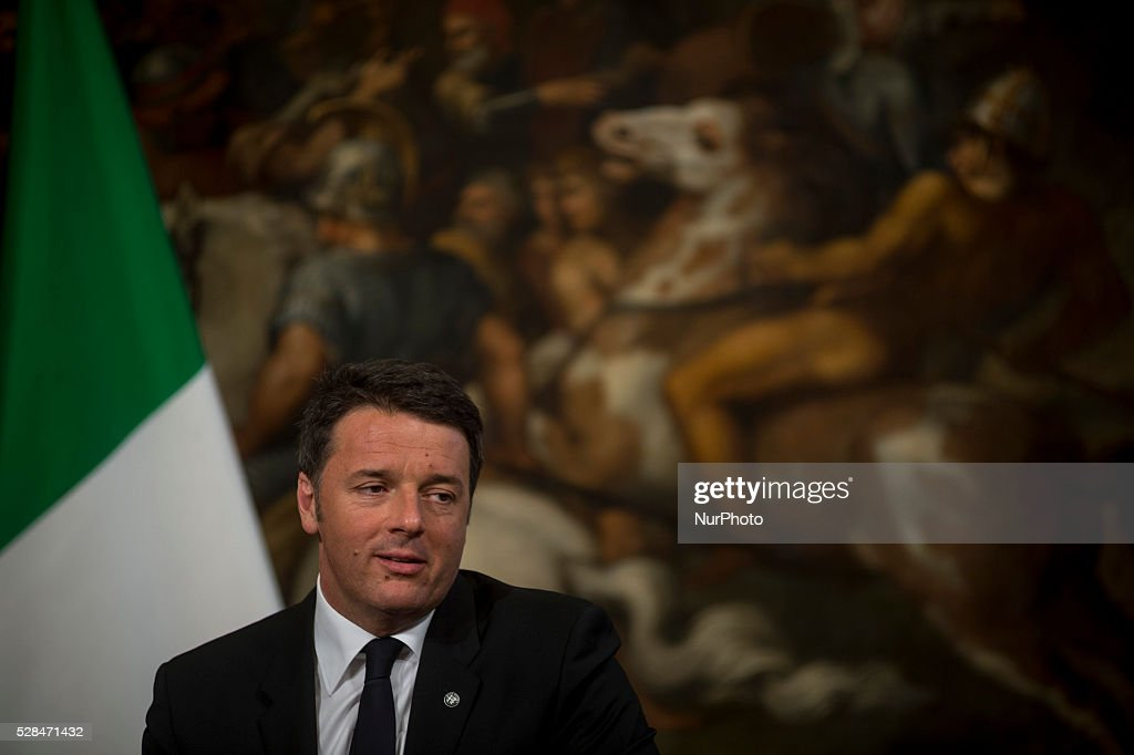 Italian Prime Minister Matteo Renzi during a press conference with German Chancellor Angela Merkel after their meeting in Rome's Palazzo Chigi on May 5, 2016.