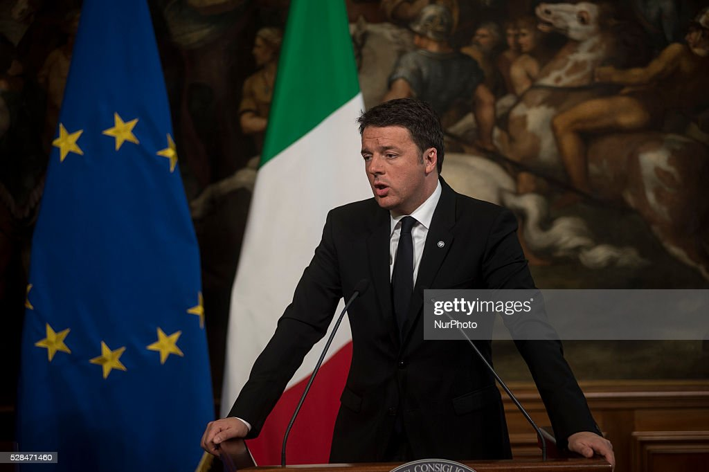 Italian Prime Minister <a gi-track='captionPersonalityLinkClicked' href=/galleries/search?phrase=Matteo+Renzi&family=editorial&specificpeople=6689301 ng-click='$event.stopPropagation()'>Matteo Renzi</a> during a press conference with German Chancellor Angela Merkel after their meeting in Rome's Palazzo Chigi on May 5, 2016.